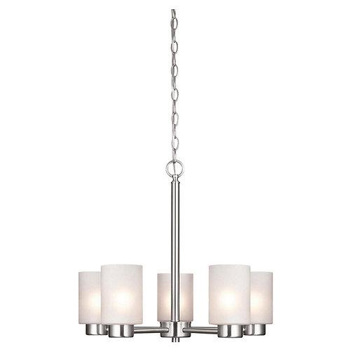 Westinghouse 6227400 Sylvestre Five-Light Interior Chandelier, Brushed Nickel