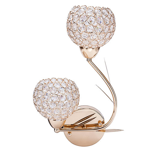 Crystalize -  Gold Twin Stem Crystal wall sconce