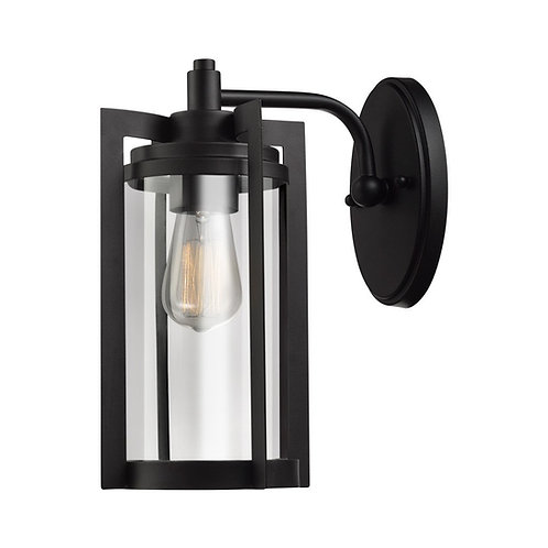 "Cynder-Ela 12"" 1Light Outdoor Wall Sconce, Dark Bronze Finish, Clear Glass Shade"