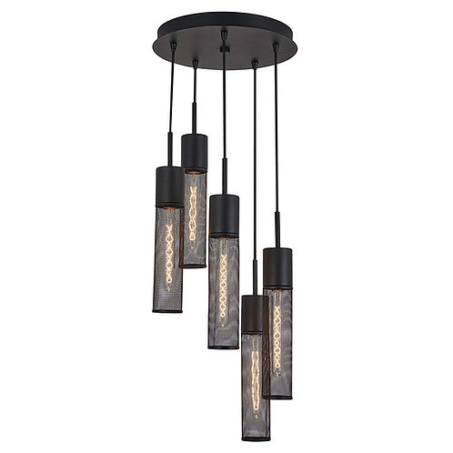 Milton- Spiral 5 Pendant Light fixture - Black | Bulbs included
