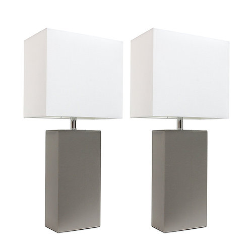 Elegant Designs LC2000-GRY-2PK 2 Pack Modern Leather Table Lamps, Gray, 3.9""