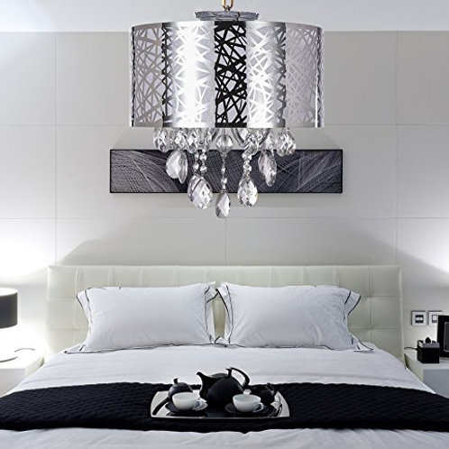 SS Lighting -Contemporary Crystal / Metal/Chrome Shade Flush-Mount