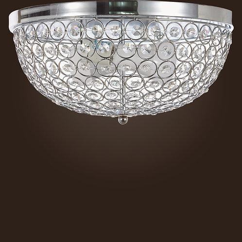 Swan-House Crystal Flush Mount Light Fixture