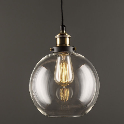 Glass Globe Pendant Light - Vintage Industrial