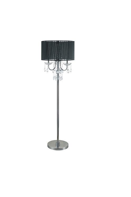 "Empress - Chrome Crystal Inspired 3-Bulb Floor Lamp, 62.5"" H, Black"