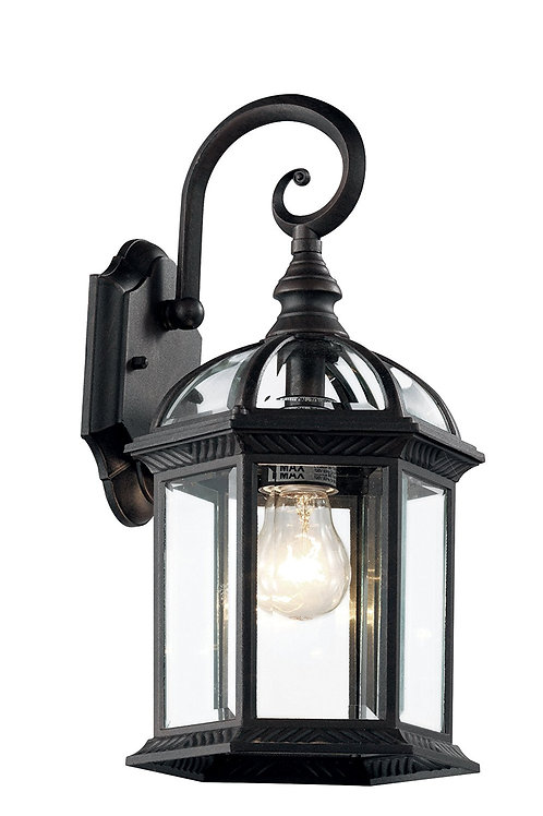 "Trans Globe-Wentworth 15-3/4"" Black Wall Lantern"