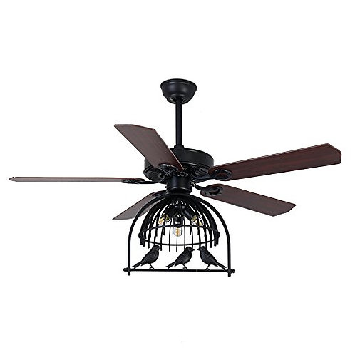 "Bird Cage - Industrial Fan Antique Black Bronze 48.03"" 3  Light"