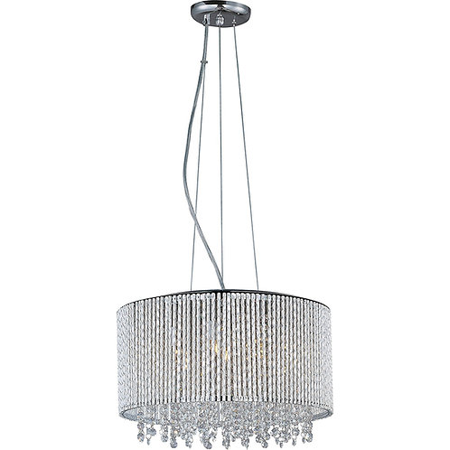 Deluxe Lamp 4 Light Drum Round Shade Spiral Crystal Dia 16'' Chandelier