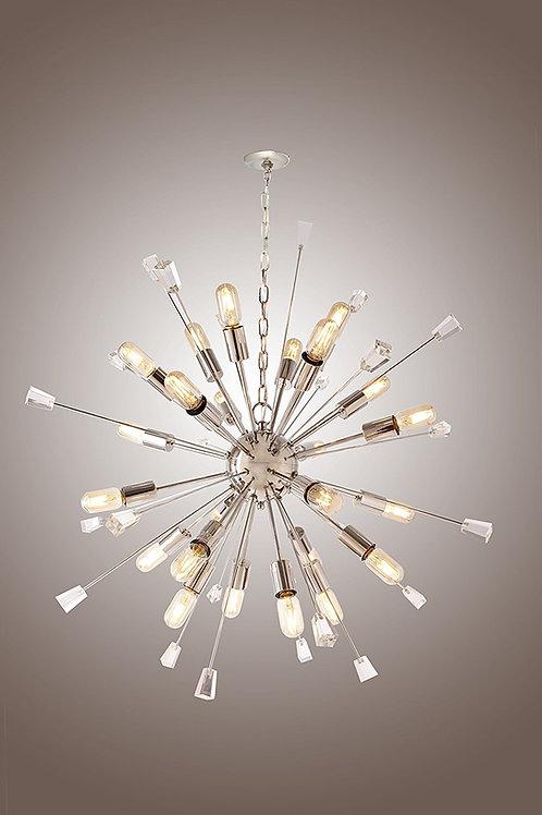 Mid Century Italian Starburst CHANDELIER 24 Light Edison Bulb Sparkling Sputnik