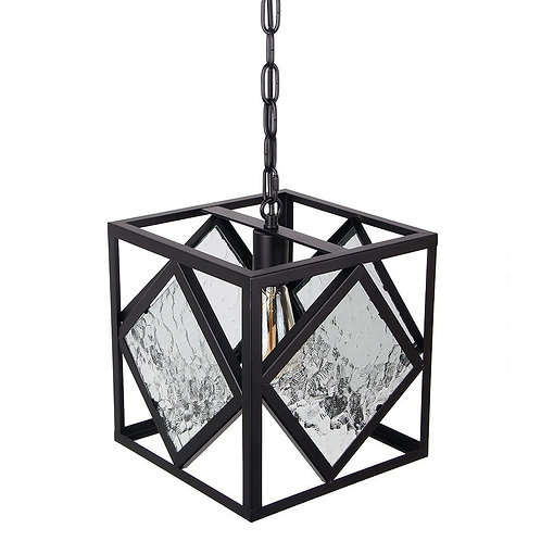Anmytek Square Metal Frame Pandant Lamp with Waterlines Glass Matt Black Color
