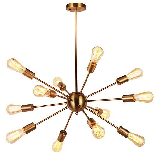 Sunshine Collection - 12 Lights Brass Starburst Sputnik Chandelier Retro Ceiling