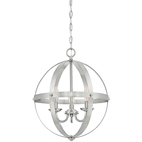 Mira 3-Light Orb Globe Chandelier, Brushed Nickel Finish with Highlights