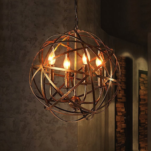 Vintage Rustic Orb Wrought Iron Style Aged Brass Candle Look