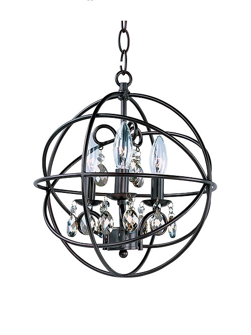 Maxim 25140OI, Orbit Crystal 1 Tier Chandelier Lighting, 3 Light, 60 Watts, Rubb