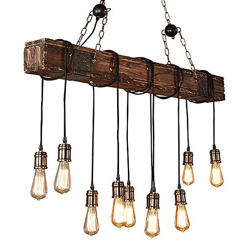 Farmhouse Style Dark Distressed Wood Beam Large Linear Island Pendant Light 10-