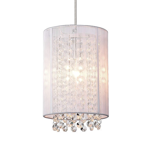 Crystal Pendant Lighting White Modern 1 light pendant
