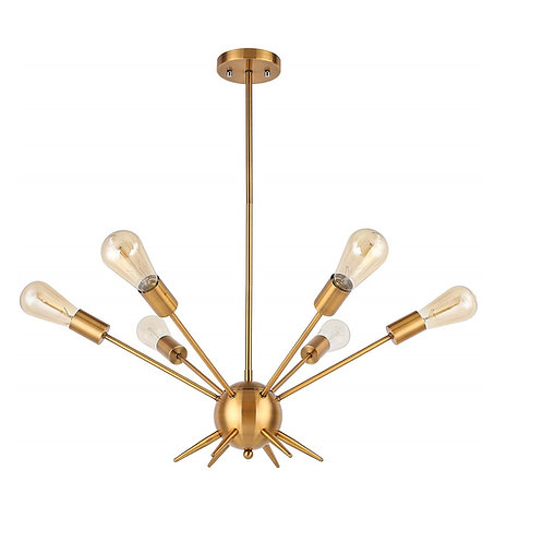 Re-Verse | 6 Lights Pendant Light Brass Plated, UL Listed, Modern Chandelier