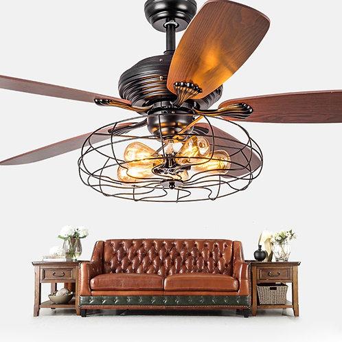 Industrial Fan Semi Flush Ceiling Light - LITFAD Antique Vintage Retro Fan