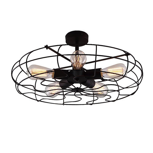 "Industrial Vintage Semi Flush Mounted Ceiling Light - LITFAD 21"" Chandelier Barn"