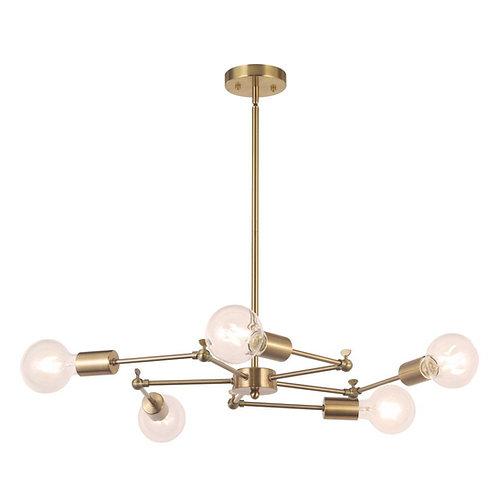 5-Light Sputnik Chandelier Lighting Brushed Brass Modern Pendant Lights Vintage