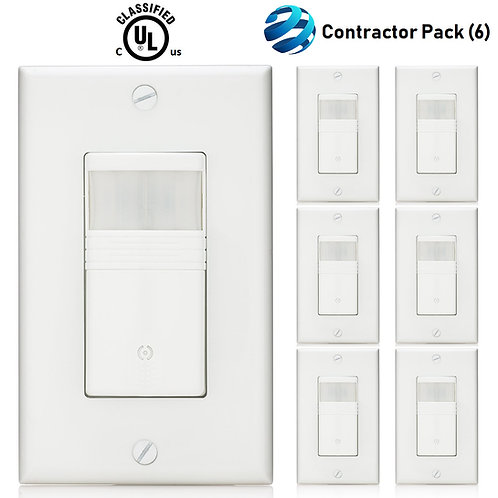 6 Pack - Vacancy & Occupancy Motion Sensor Wall Switch, cUL LISTED