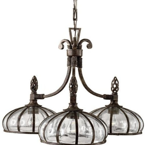 Uttermost Galeana 3-Light Iron Downlight Chandelier with Mouth Blown Glass
