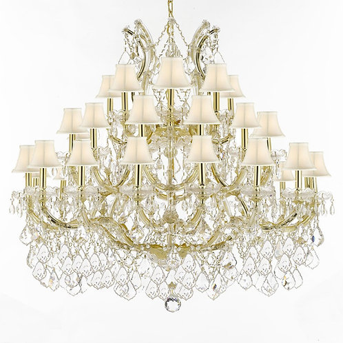 "Maria Theresa Crystal Chandelier Lighting With White Shades! H 39"" W 44"""