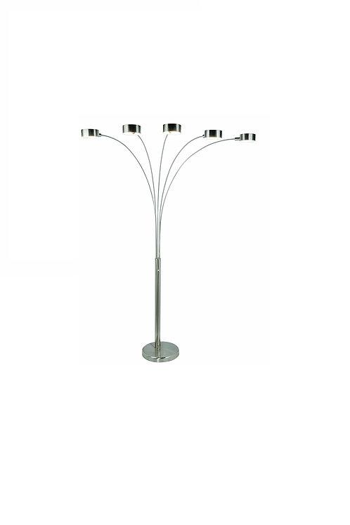 Modern & Stylish - 5 Arc Brushed Steel Floor Lamp w/ Dimmer Switch, 360 Degree R