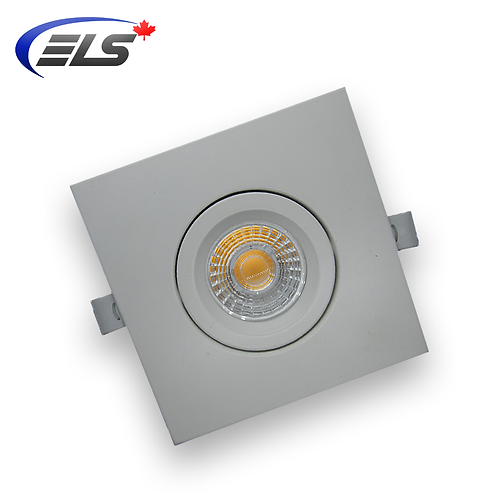 "ELS Canada - Quadro | 4"" LED White Square Recessed Gimbal Light 9W"
