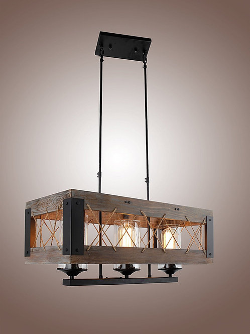 Farm House - Oak Wood Aged Metal Rectangular Chandelier Edison Bulb
