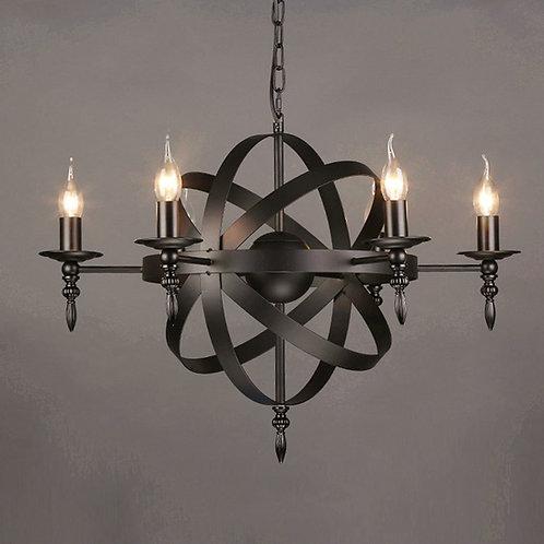 M. Stallion - Vintage Barns Pendant Light 6-Lights Black Chandelier Light