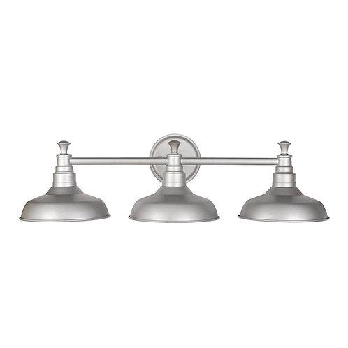 Kimball 3 Light Vanity Light, Galvanized Steel Finish