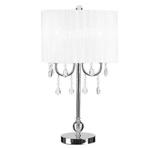 hite & Chrome Chandelier Acrylic Accent Table Lamp, Silver
