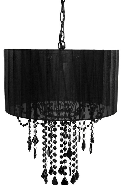 Single Bulb Shaded Chandelier, Black