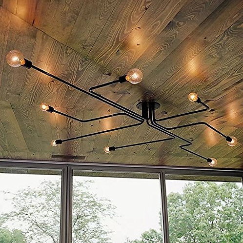 Retro Wall Mount Ceiling Light 8 Heads Metal Industrial Light Fixture