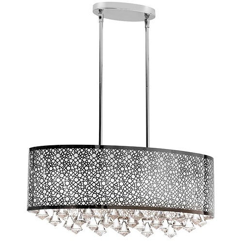 Dainolite Lighting - 6 Light Oval Crystal Island Polished Chrome Light fixture