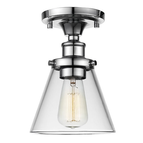 G E Mercer 1-Light Flush Mount Ceiling Light, Clear Glass Shade