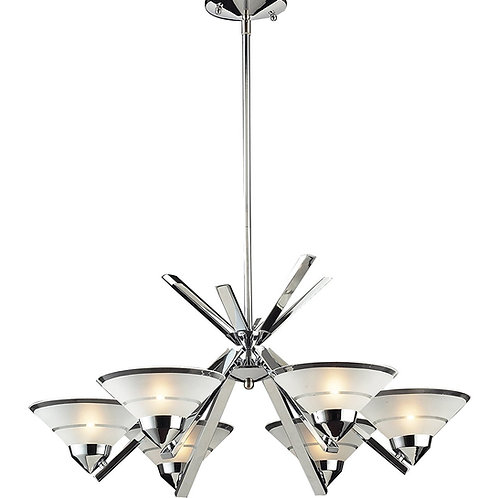 Elk 1475/6 6-Light Chandelier In Polished Chrome and Etched Clear Glass