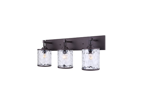3 Light Vanity Light with Watermark Glass - Oil Rubbed Bronze -Quick Connect