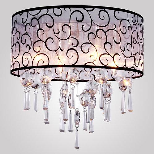 Contemporary Elegant Crystal Chandelier with 4 Lights Flush-Mount