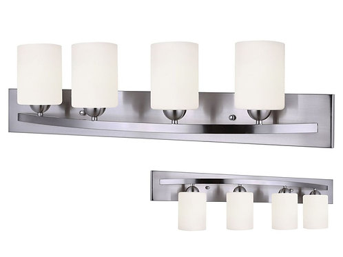 Canarm Luztar Hampton 4 Bulb Vanity Light, Brushed Pewter finish - White Opal