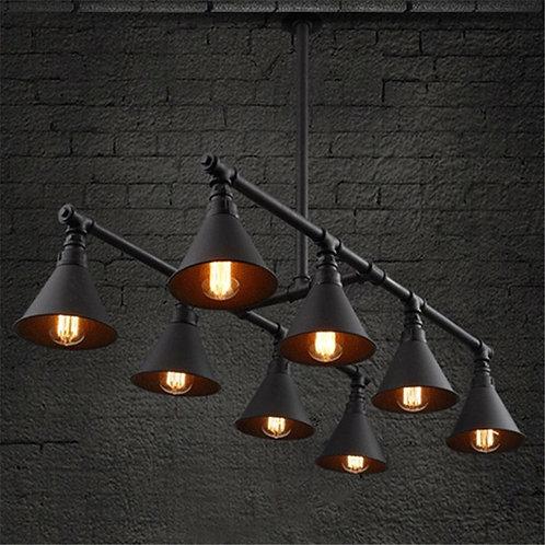 Vintage Industrial Style 8 Light Large Pipe Indoor Lighting Island Light Fixture