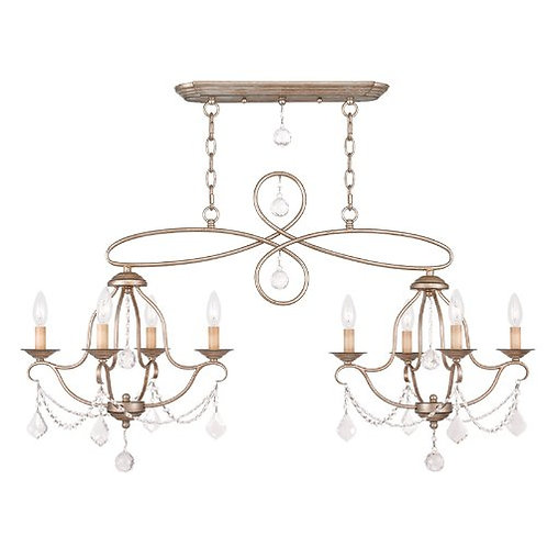 Livex Lighting - Classy/Modern 8-Light Antique Silver Leaf Island Chandelier
