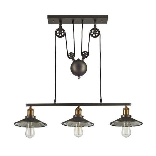 Ohr Lighting Edison Hanging vintage Barn Pendant 3 Light Fixture Glass Shade