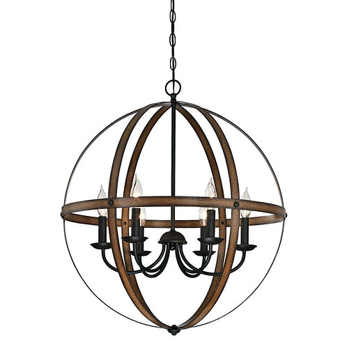 "25"" Stella Mira 6-Light Indoor Chandelier Finish, Barnwood and Oil Rubbed Bronze"