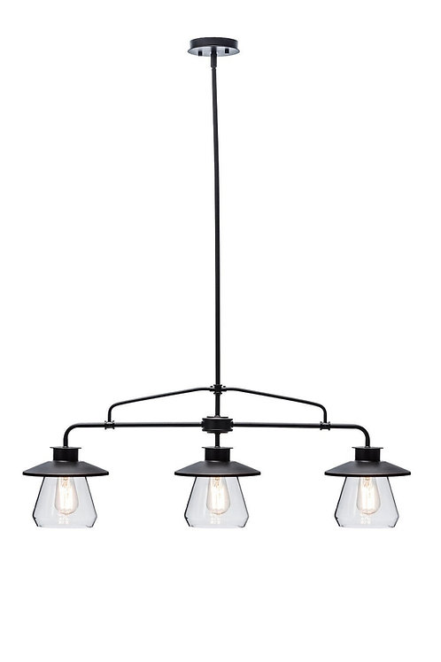 Globe 3-Light Vintage Pendant, Oil Rubbed Bronze Finish, Clear Glass Shades