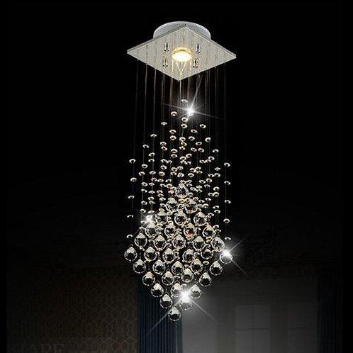 WorldWide Lighting  Flush Mount 1-Light Crystal Rain Drop Chandelier