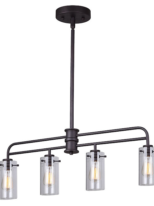 Canarm Albany 4 Light Rod Pendant with Clear Glass - Oil Rubbed Bronze Finish