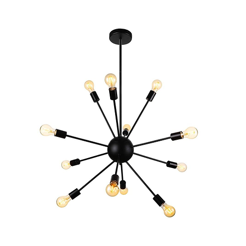 "Apollo 12 - Black Sputnik 12 Bulb Chandelier  -32"" LTFD"