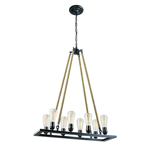8-Light Vintage Chandelier With Rope Wrapped Hangers, Oil Rubbed Bronze Finish